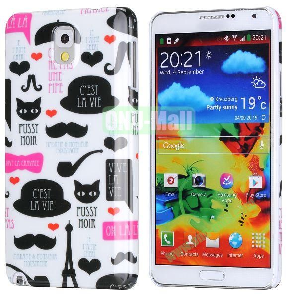 PC Hard Case For Samsung Galaxy Note 3 N9000 (Hats and Moustache Pattern)