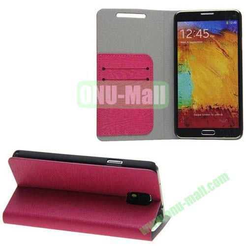 Wood Grain Texture Leather Case for Samsung Galaxy Note 3N9000 with Card Slots and Stand (Rose)