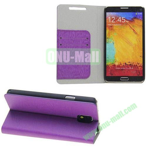 Wood Grain Texture Leather Case for Samsung Galaxy Note 3N9000 with Card Slots and Stand (Purple)