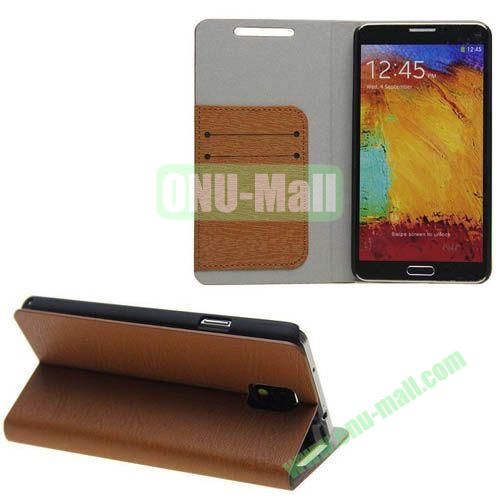 Wood Grain Texture Leather Case for Samsung Galaxy Note 3N9000 with Card Slots and Stand (Brown)