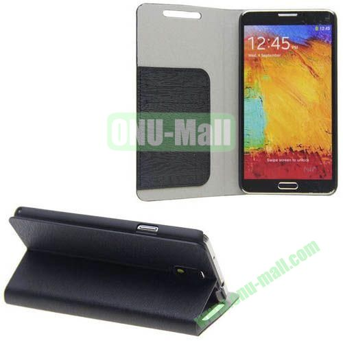 Wood Grain Texture Leather Case for Samsung Galaxy Note 3N9000 with Card Slots and Stand (Black)