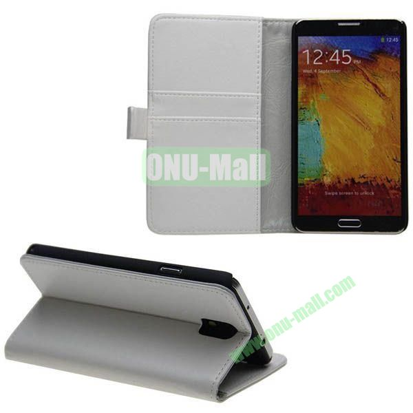 Crazy Horse Texture Genuine Leather Case for Samsung Galaxy Note 3N9000 with Card Slots and Holder (White)
