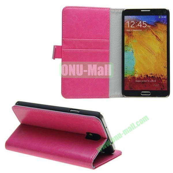 Crazy Horse Texture Genuine Leather Case for Samsung Galaxy Note 3N9000 with Card Slots and Holder (Rose)