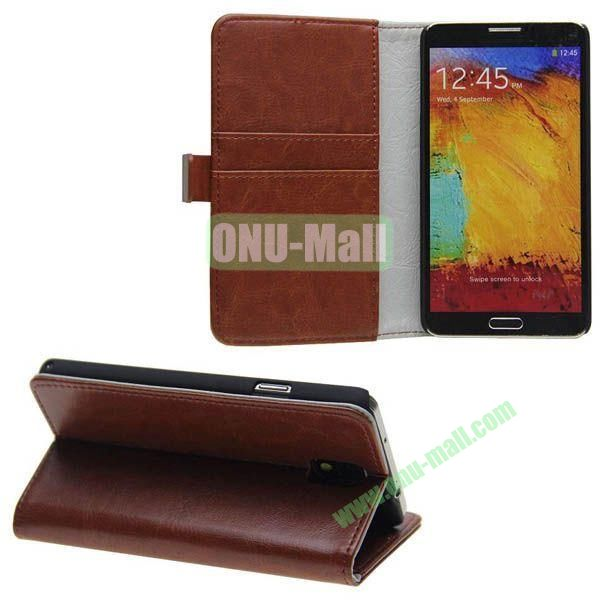 Crazy Horse Texture Genuine Leather Case for Samsung Galaxy Note 3N9000 with Card Slots and Holder (Brown)