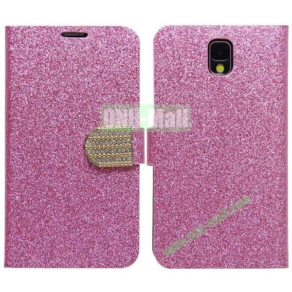 Fashion Glitter Powder Leather Case with Card Slots and Holder for Samsung Galaxy Note 3N9000 (Pink)