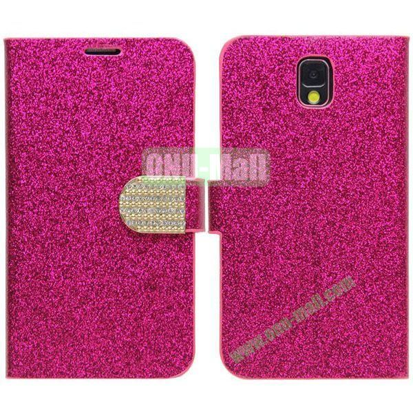 Fashion Glitter Powder Leather Case with Card Slots and Holder for Samsung Galaxy Note 3N9000 (Rose)