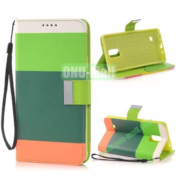 Colour Mixture Flip Stand TPU+PU Leather Case for Samsung Galaxy Note 4 (White+Green+Dark Green+Orange)