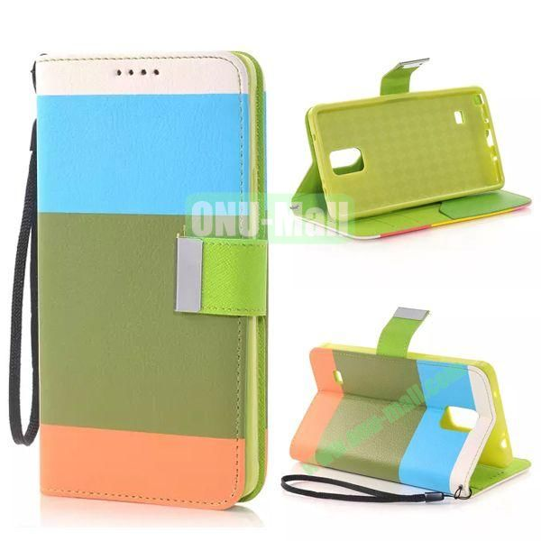 Colour Mixture Flip Stand TPU+PU Leather Case for Samsung Galaxy Note 4 (White+Blue+Green+Orange)