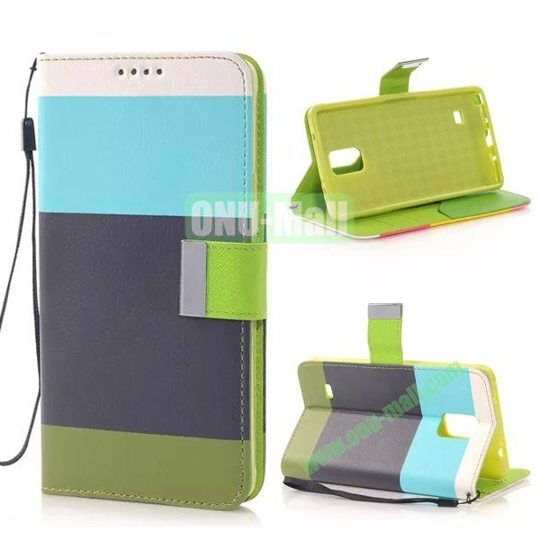 Colour Mixture Flip Stand TPU+PU Leather Case for Samsung Galaxy Note 4 (White+Blue+Black+Green)