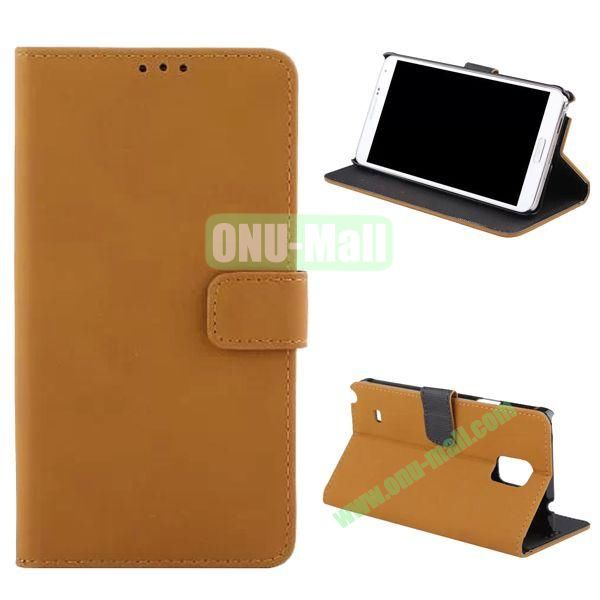 Retro Frosted Flip Stand Leather Case for Samsung Galaxy Note 4 N910 (Yellow)