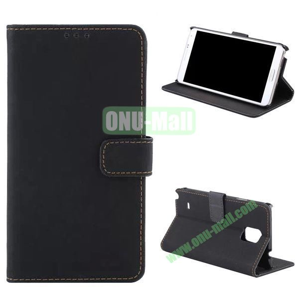 Retro Frosted Flip Stand Leather Case for Samsung Galaxy Note 4 N910 (Black)