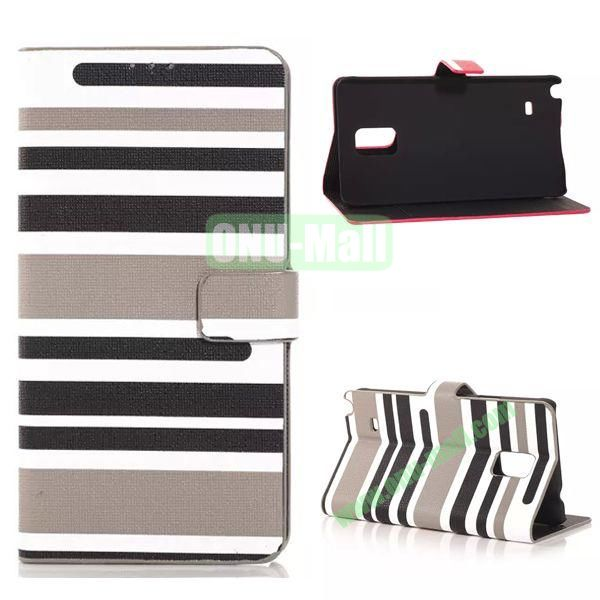 Horizontal Stripe Pattern Flip Stand Leather Case for Samsung Galaxy Note 4 with Card Slots (Grey)