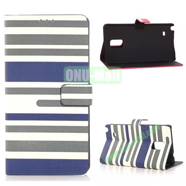 Horizontal Stripe Pattern Flip Stand Leather Case for Samsung Galaxy Note 4 with Card Slots (Blue)