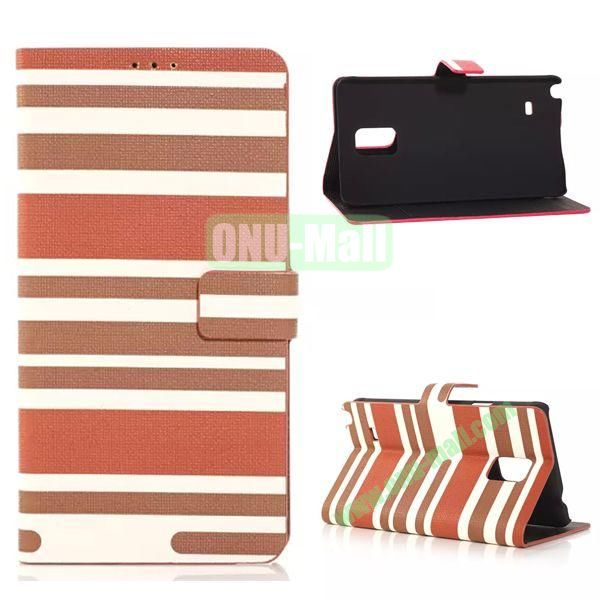 Horizontal Stripe Pattern Flip Stand Leather Case for Samsung Galaxy Note 4 with Card Slots (Brown)
