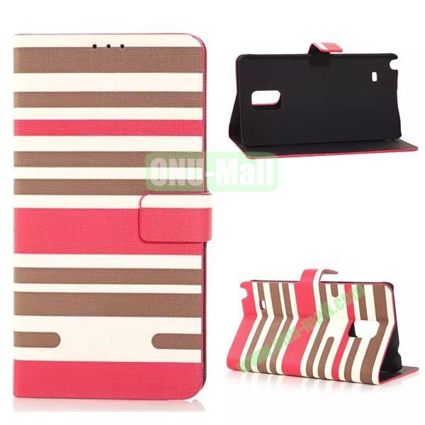 Horizontal Stripe Pattern Flip Stand Leather Case for Samsung Galaxy Note 4 with Card Slots (Rose)