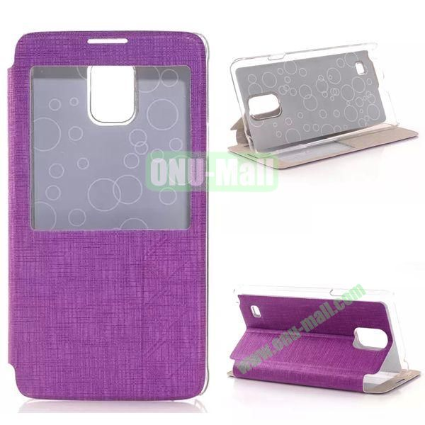 Stripe Texture Side Flip Leather Case for Samsung Galaxy Note 4 with Caller ID Display Window (Purple)