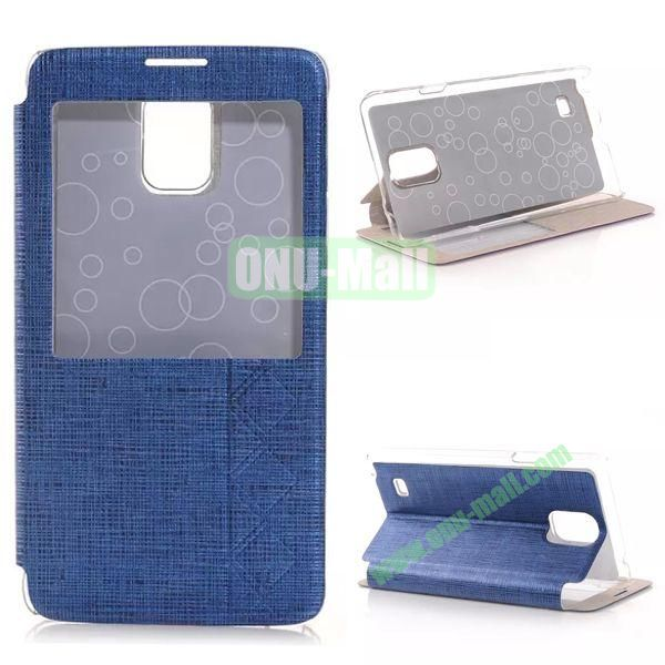 Stripe Texture Side Flip Leather Case for Samsung Galaxy Note 4 with Caller ID Display Window (Dark Blue)