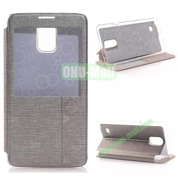 Stripe Texture Side Flip Leather Case for Samsung Galaxy Note 4 with Caller ID Display Window (Grey)