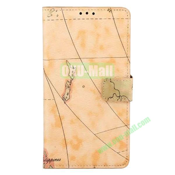 Map Pattern Flip Stand Leather Case for Samsung Galaxy Note 4 (Yellow)