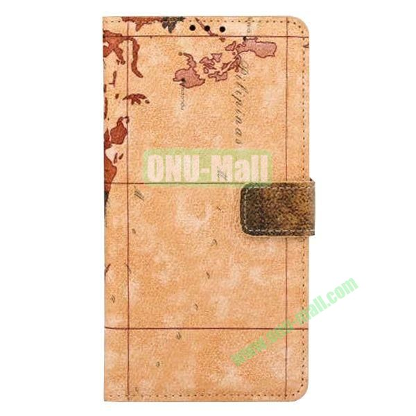 Map Pattern Flip Stand Leather Case for Samsung Galaxy Note 4 (Brown)