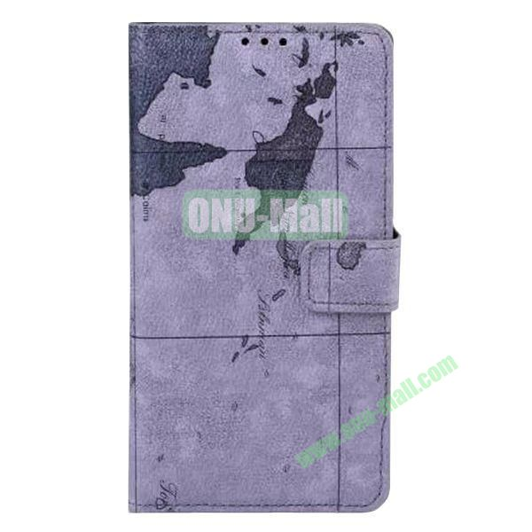 Map Pattern Flip Stand Leather Case for Samsung Galaxy Note 4 (Dark Grey)
