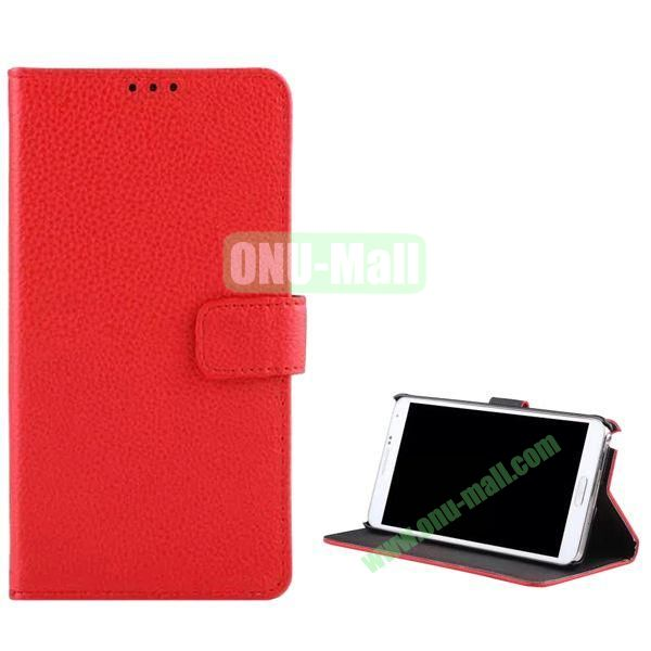Litchi Texture Flip Stand Leather Case for Samsung Galaxy Note 4 (Red)