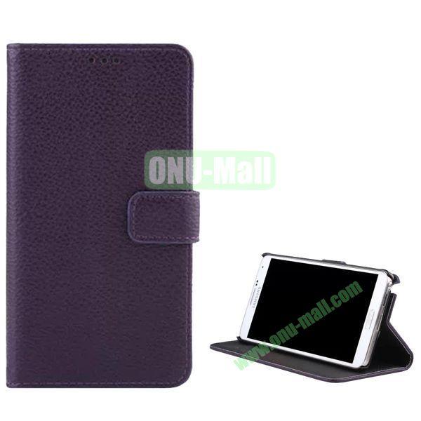 Litchi Texture Flip Stand Leather Case for Samsung Galaxy Note 4 (Dark Purple)