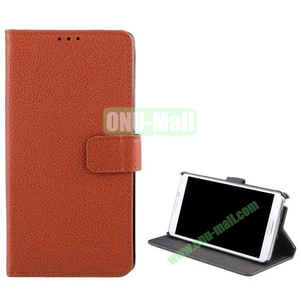 Litchi Texture Flip Stand Leather Case for Samsung Galaxy Note 4 (Brown)