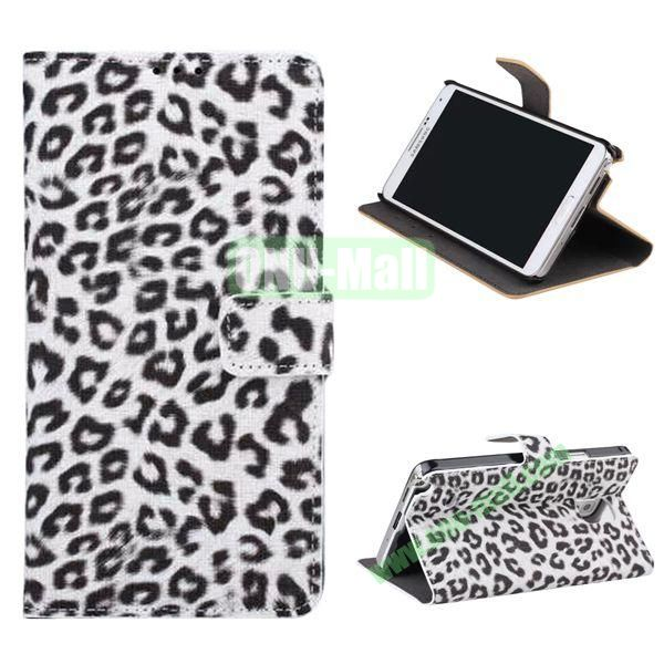 Leopard Pattern Flip Stand Leather Case for Samsung Galaxy Note 4 with Card Slots (White)