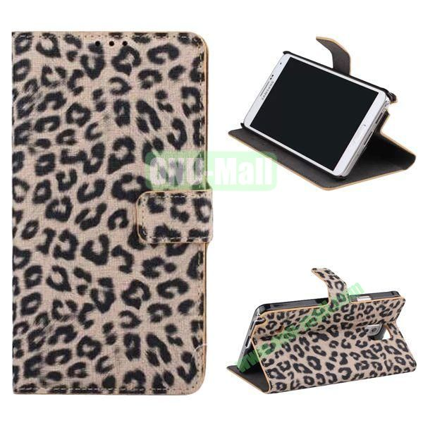 Leopard Pattern Flip Stand Leather Case for Samsung Galaxy Note 4 with Card Slots (Brown)