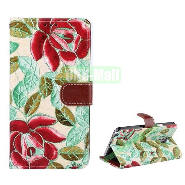 Flowers Pattern Flip Stand Leather Case for Samsung Galaxy Note 4 with Card Slots (Green)