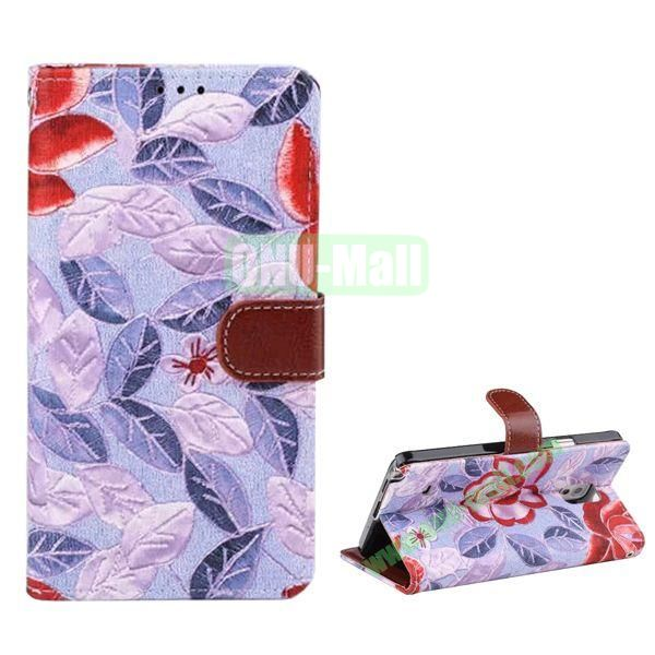 Flowers Pattern Flip Stand Leather Case for Samsung Galaxy Note 4 with Card Slots (Purple)