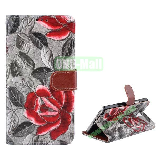 Flowers Pattern Flip Stand Leather Case for Samsung Galaxy Note 4 with Card Slots (Black)