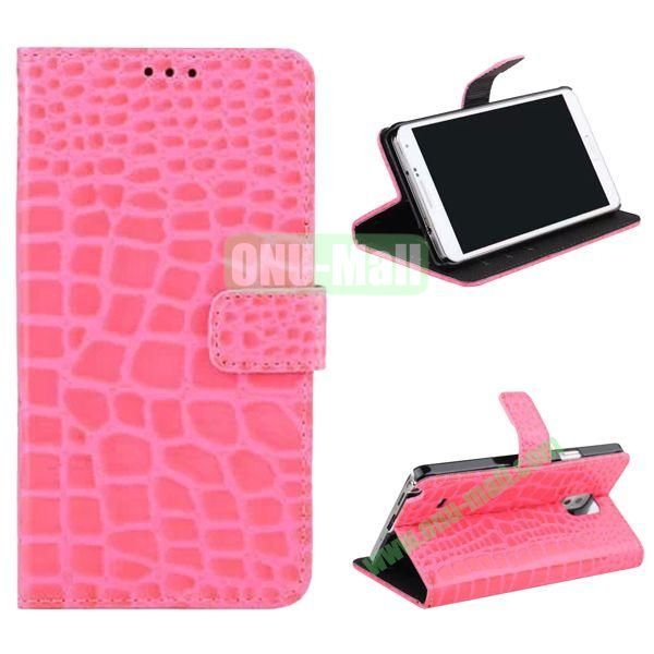 Crocodile Pattern Flip Stand Leather Case for Samsung Galaxy Note 4 with Card Slots (Pink)