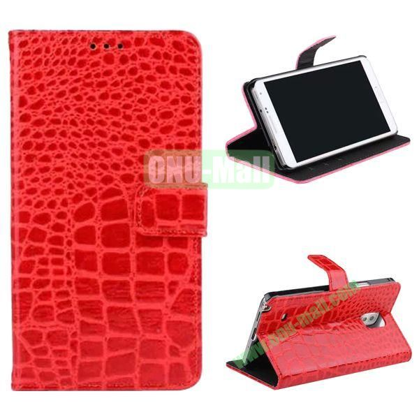 Crocodile Pattern Flip Stand Leather Case for Samsung Galaxy Note 4 with Card Slots (Red)