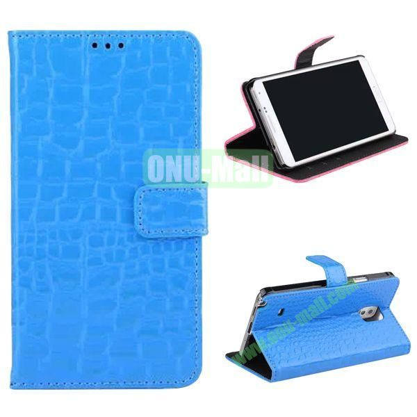 Crocodile Pattern Flip Stand Leather Case for Samsung Galaxy Note 4 with Card Slots (Blue)