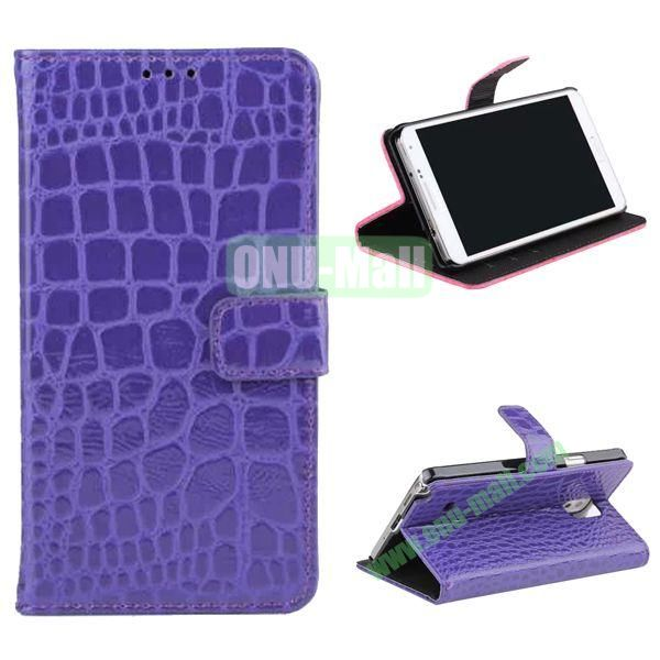 Crocodile Pattern Flip Stand Leather Case for Samsung Galaxy Note 4 with Card Slots (Purple)