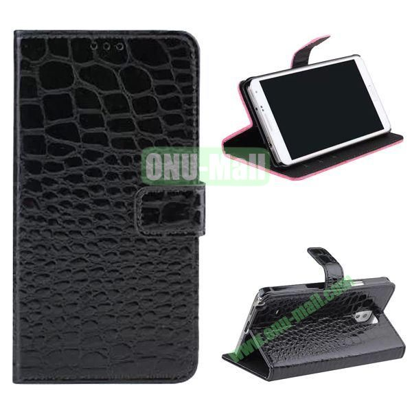 Crocodile Pattern Flip Stand Leather Case for Samsung Galaxy Note 4 with Card Slots (Black)