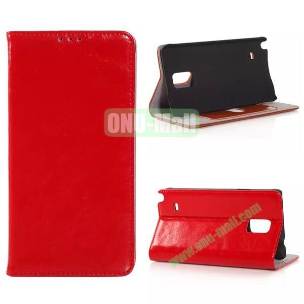 Crazy Horse Texture Side Flip Leather Case for Samsung Galaxy Note 4 with Card Slot (Red)