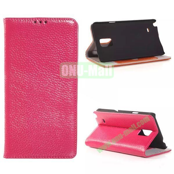 Litchi Texture Side Flip Leather Case for Samsung Galaxy Note 4 with Card Slot (Rose)