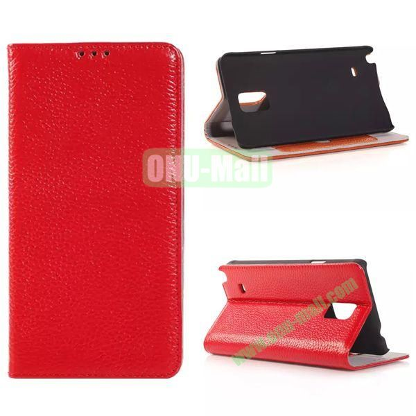 Litchi Texture Side Flip Leather Case for Samsung Galaxy Note 4 with Card Slot (Red)