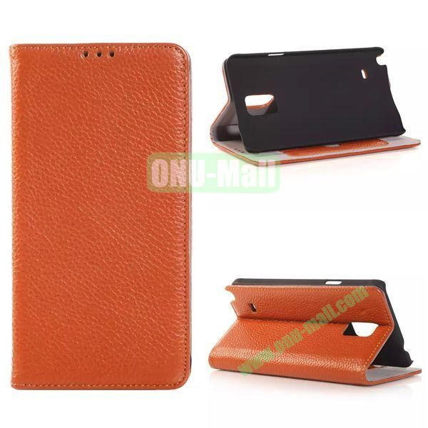 Litchi Texture Side Flip Leather Case for Samsung Galaxy Note 4 with Card Slot (Brown)