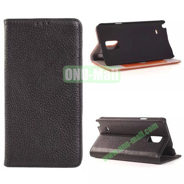 Litchi Texture Side Flip Leather Case for Samsung Galaxy Note 4 with Card Slot (Black)