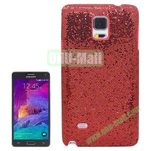 Glitter Powder Skinning Hard Plastic Case for Samsung Galaxy Note 4 (Red)