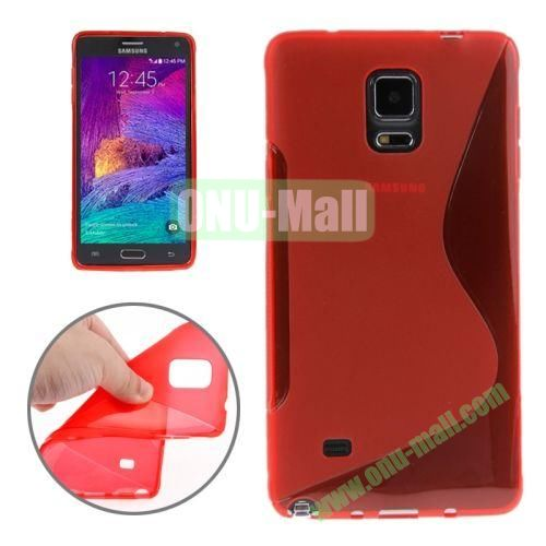 Anti-skid Frosted S Shape Soft TPU Case for Samsung Galaxy Note 4 (Red)