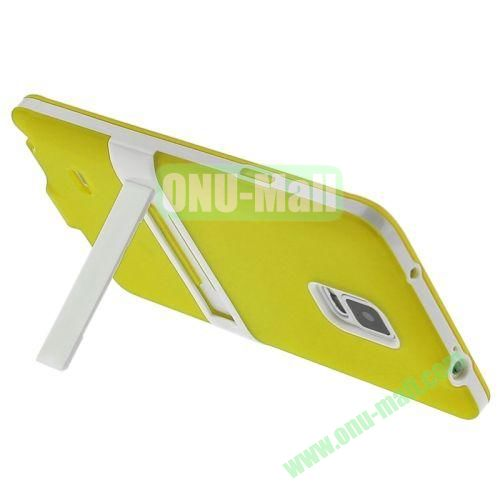 TPU and Plastic Combination Case with A Kickstand for Samsung Galaxy Note 4 N910 (Yellow)