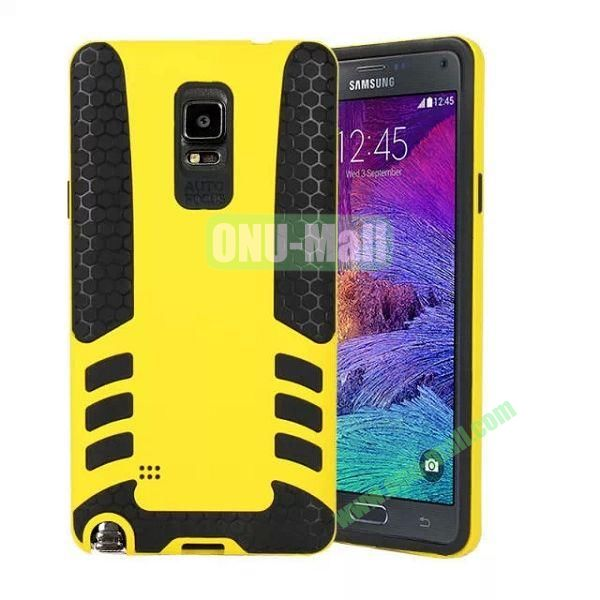 Rock Series Snap-on 2 in 1 Pattern Hybrid Silicone and PC Case for Samsung Galaxy Note 4 (Yellow)