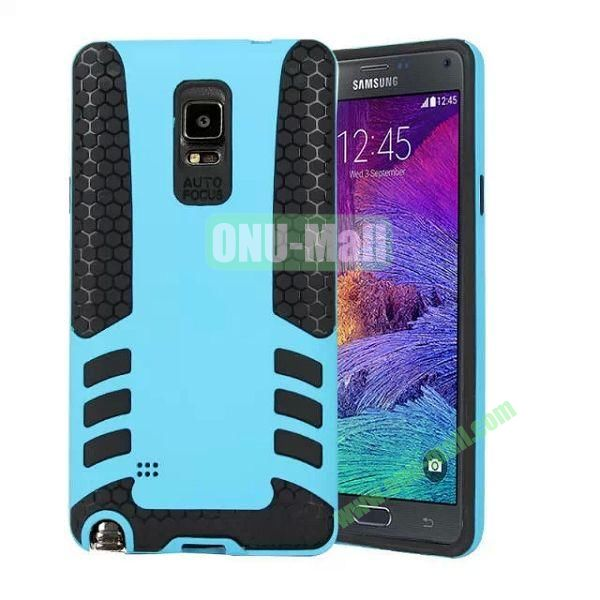 Rock Series Snap-on 2 in 1 Pattern Hybrid Silicone and PC Case for Samsung Galaxy Note 4 (Light Blue)