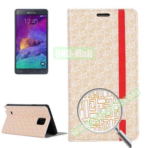 Maze Pattern Flip Stand Leather Case for Samsung Galaxy Note 4 with Card Slots (White)