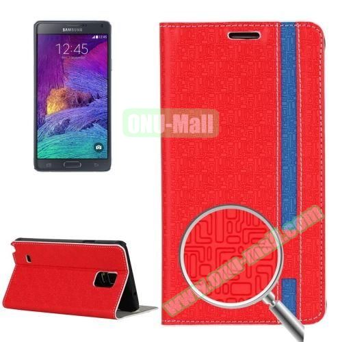 Maze Pattern Flip Stand Leather Case for Samsung Galaxy Note 4 with Card Slots (Red)